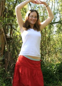 All natural bookish coed Morag undressing in the forest