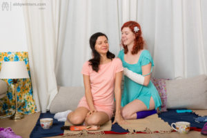 Novice hairy lezzies Katerina G & Cornelia make out while they hook up