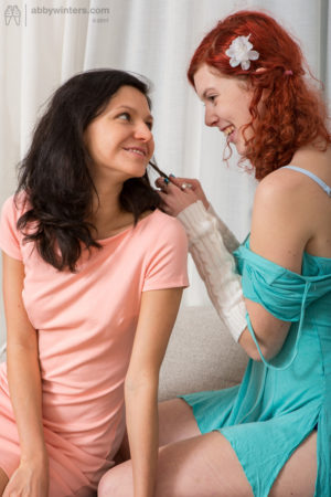 Wanton beauties Katerina G and Cornelia try lesbo fuck session games for the very first time